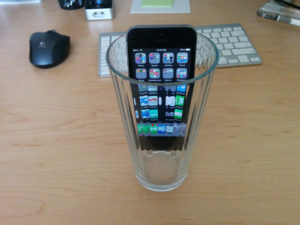 phone in glass