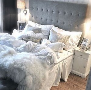 white and silver bed
