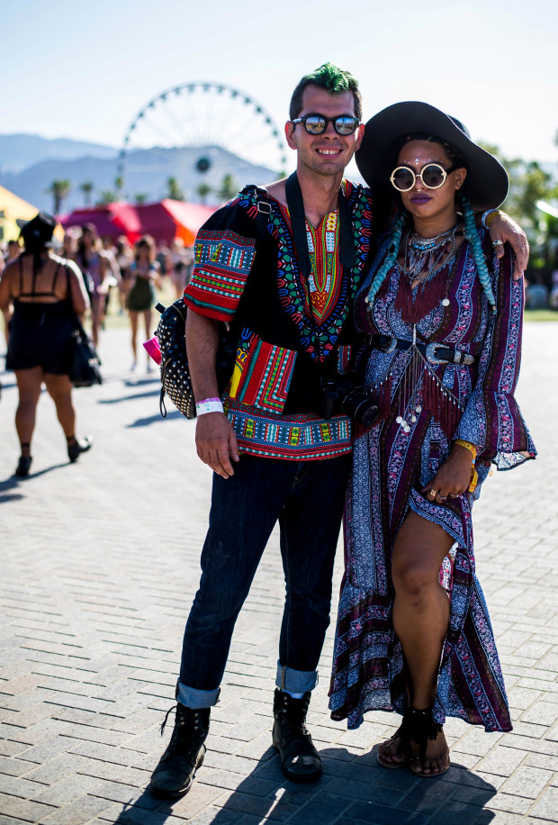 Louis O'Mahony, left, and stylist, Monica Freye at Coachella Valley Music and Arts Festival in Indio on Saturday, April 15, 2017. (Photo by Watchara Phomicinda, The Press-Enterprise/SCNG)